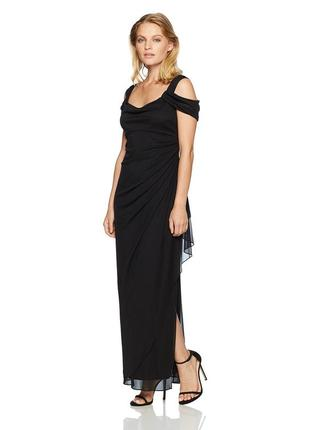 Черное вечернее платье в пол 10р (usa) из шифона с  акцентными...