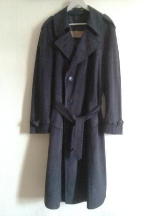Двубортный велюровый замшевый тренч пальто
