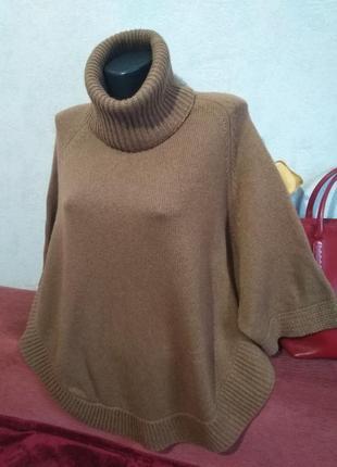 Брендовый свитер, накидка, смесовая шерсть, massimo dutti, м