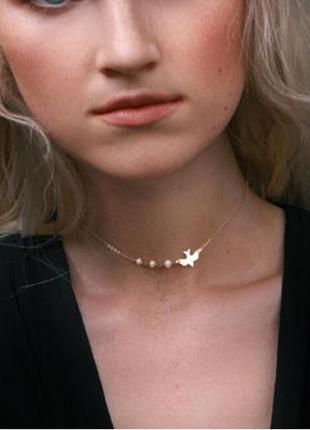 Ожерелье цепочка с подвеской птица и жемчужины