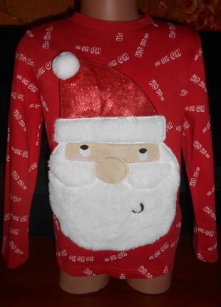 Реглан новогодний  Дед Мороз на девочку