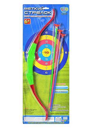 Лук M 0013 (48шт) 58см, стрелы на присосках 3шт 42см, на листе...