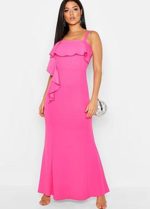 Платье макси, платье в пол с воланом фуксия asos