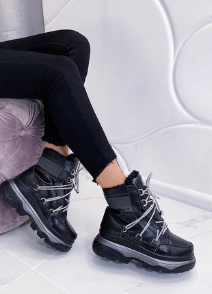 Новые шикарные женские зимние кожаные черные ботинки