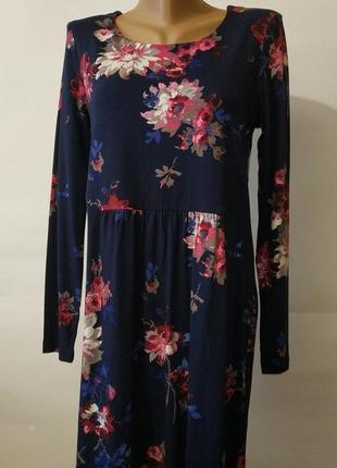 Платье миди синие вискозное в красивые цветы joules uk 12/40/m