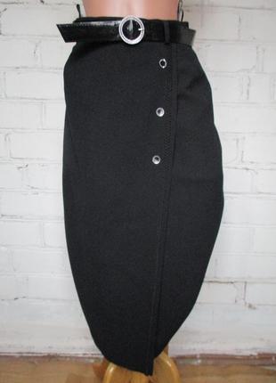 Юбка миди черная теплая на запах с поясом/45% шерсть/s-m
