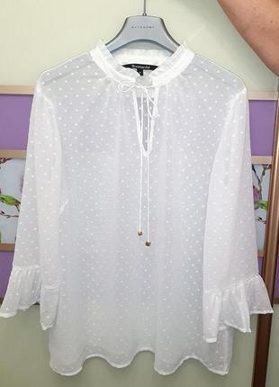 🎁1+1=3 фирменная нарядная белая блуза французкого бренда bonma...