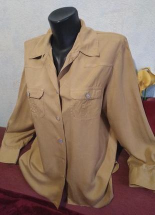 Натуральный интересный шелк,песочная блузочка, рубашка peter hahn