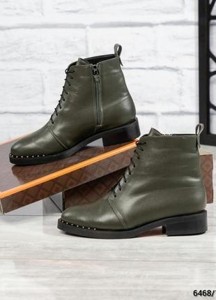 ❤ женские оливковые зимние кожаные ботинки сапоги полусапожки ...