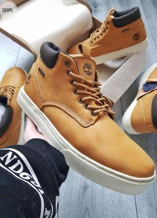 Мужские зимние ботинки с мехом timberland camel, тимберленд, ч...