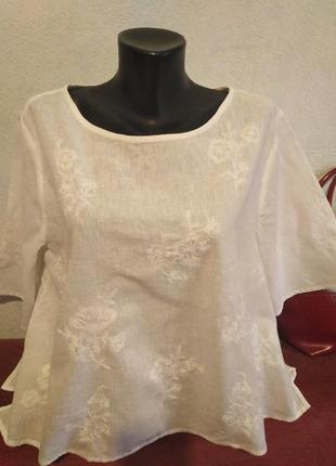 Лёгкая белая блузочка с нежной вышивкой, хлопок +лен, h&m