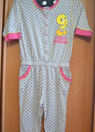 Пижама на девочку 8-9 лет, одежда для дома, комбез, летняя