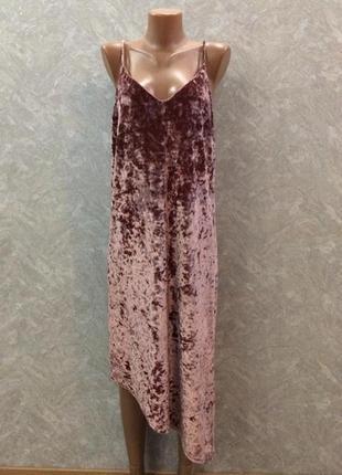 Платье  миди вечернее бархатное велюровое с асимметричным низо...