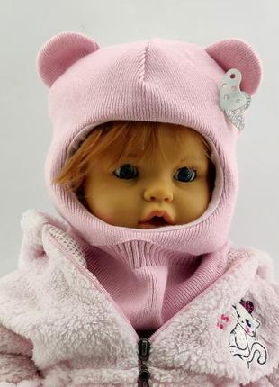 Детская шапка шлем с ушками вязаная теплая