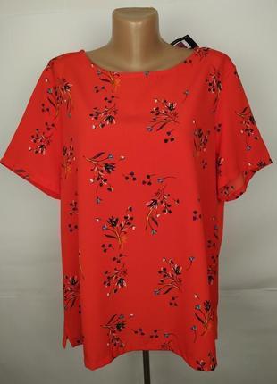 Блуза новая красная комбинированная в принт большой размер mar...