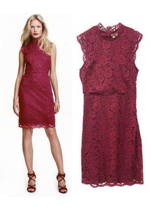 Бордовое кружевное платье футляр 0437779001