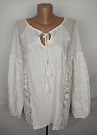 Блуза рубаха новая стильная кружевная большого размера next uk...