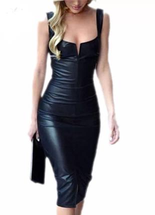 Платье под кожу из эластичной ткани