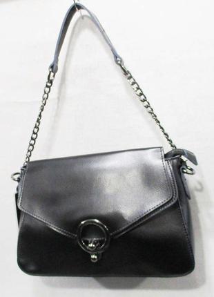 Женская сумка из натуральной кожи кожаная на плечо черная жіно...