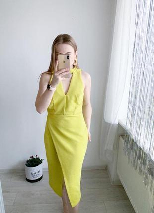 Платье миди лимонного цвета