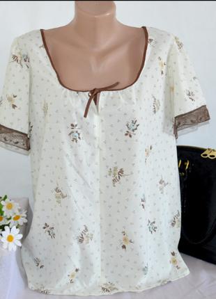 Брендовая блуза с кружевом принт цветы