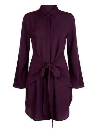 В наличии - винное платье-рубашка с длинным рукавом на завязка...