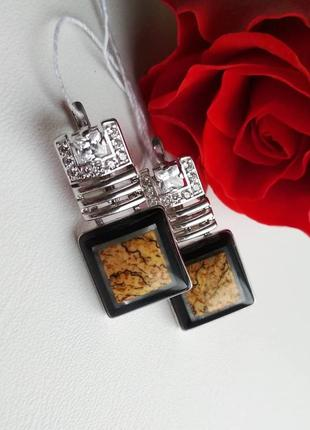 Серебряные серьги с натуральным агатом
