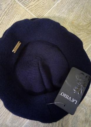 Берет шапка зимняя тёплая  вязаная новая темно-синяя
