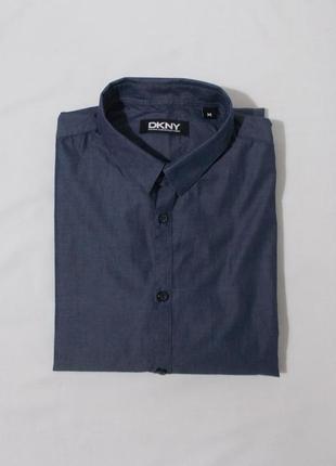 Рубашка слим синяя с блеском 'dkny'48-50р