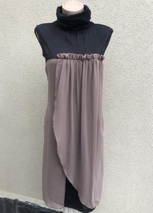 Комбинированное,шерсть платье-гольф,рюши,blue joini,италия