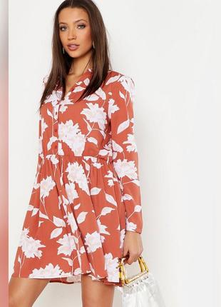 Платье-рубашка в принт boohoo, легкое платье на пуговицах возд...
