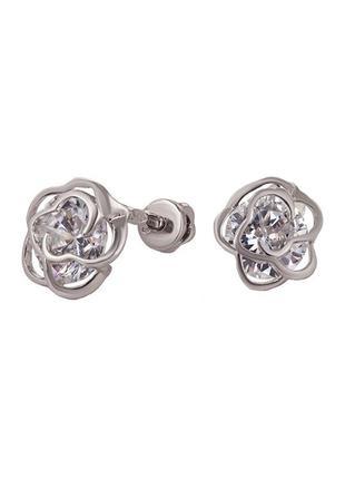 Серьги-пуссеты из серебра 925 пробы с покрытием из родия «розо...