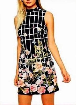 Трендовое романтичное платье мини с цветочным принтом и воротн...
