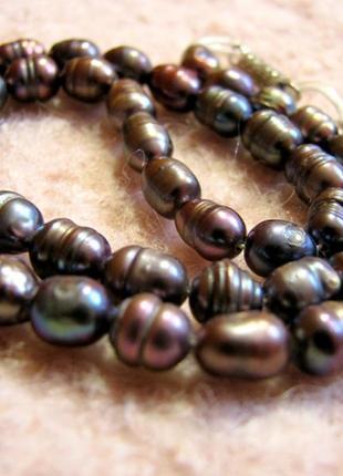 Редкий коричневый натуральный жемчуг барокко - ожерелье 38 см