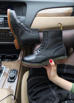 Зимние ботинки с мехом dr.martens в коже /осень/зима/весна😍