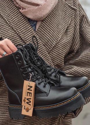 Зимние dr.martens женские кожаные ботинки на платформе с мехом...