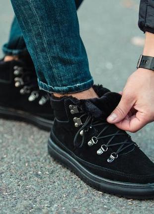Чёрные зимние мужские ботинки south snake black, с мехом зимов...