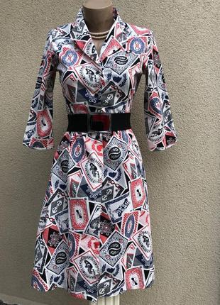 Платье,халат на застежке,морской стиль,хлопок,