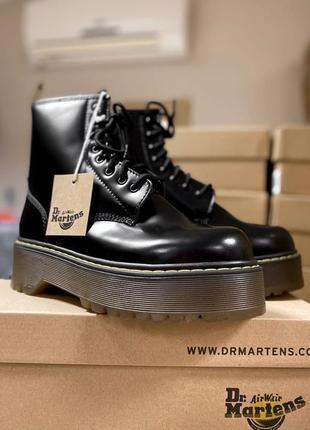 Шикарные лаковые ботинки dr martens на платформе (зима)