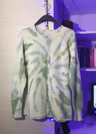 Свитер tie dye стильный джемпер с разводами forever 21 100% хл...