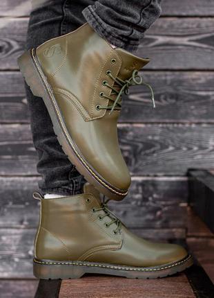 Зимние мужские ботинки south warfare green, кожаные зелёные ка...