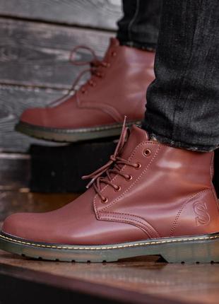 ✳️зимние✳️ботинки south warfare coffe, мужские кожаные красные...