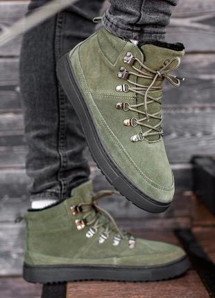 Мужские зелёные зимние ботинки south snake khaki, замшевые с м...
