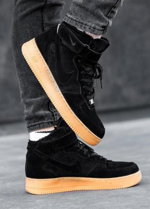 Зимние nike air force high black мужские замшевые высокие крос...