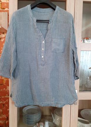 Котоново-льняная блуза италия