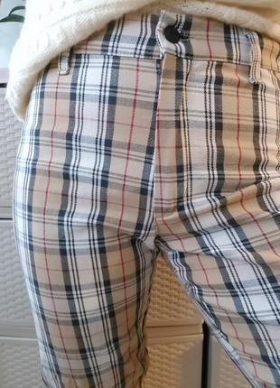 Клетчатые брюки стрейч коттоновые штаны высокая посадка