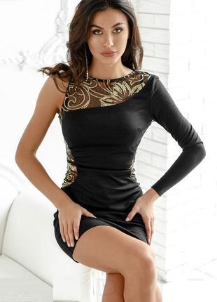Вечернее платье в пайетки с одним рукавом новогоднее нарядное ...