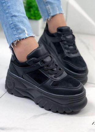 Кроссовки чёрные на платформе женские