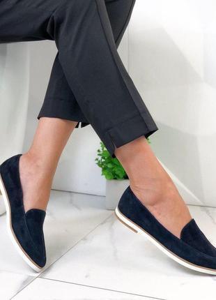 Туфли женские натуральная замша темно-синие