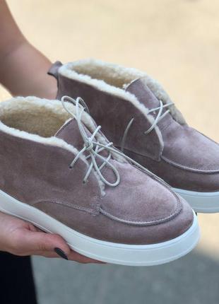 Ботинки женские пудра натуральная замша